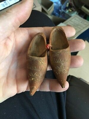 Pair of Vintage Dutch Holland ?? Wooden Clogs Shoes Hand Carved