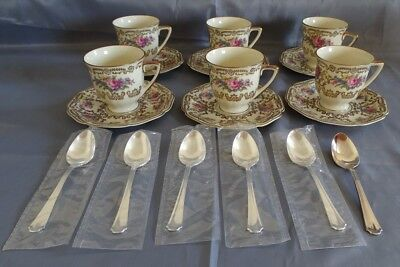 Heinrich & Co Selb Germany #9501 6 Demitasse Cups & Saucers w/Silverplate Spoons