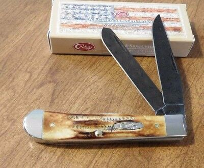 CASE XX New Bone Stag Handle 2 Blade Raindrop Damascus Trapper Knife/Knives