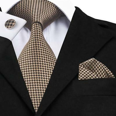 USA Classic Brown Geometric Checks Men's Tie 100% Jacquard Woven Silk Necktie
