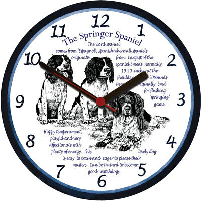 Springer Spaniel Large Wall Clock - Dog Breed Origins Animal Facts