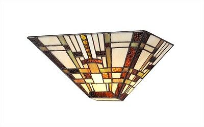 Matching PAIR Wall Sconce Fixture Arts & Craft Tiffany Style Stained Glass