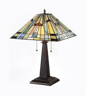 "Matching PAIR Tiffany Style Table Lamp Mission Stained Glass 16"" Shade 23.5 Tall"