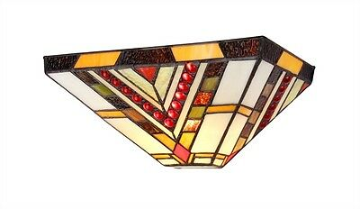 "Matching PAIR 12"" Tiffany Style Stained Glass Mission Wall Sconce Light Fixture"