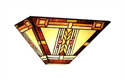 "Matching PAIR 12"" Mission Tiffany Style Stained Glass Wall Sconce Light Fixtures"