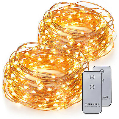 2x 20ft 120 LEDs Battery Operated LED Copper Wire String Fairy Lights Xmas Gift