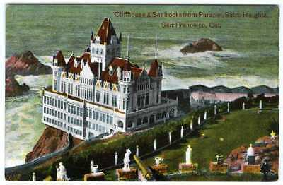 1900s SAN FRANCISCO VICTORIAN CLIFF HOUSE from SUTRO HEIGHTS~ORIGINAL POSTCARD