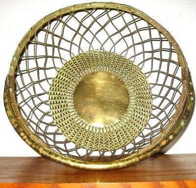 "Vintage HEAVY Solid Brass Wire BASKET with Handle LARGE Size 10.75"" Diameter"