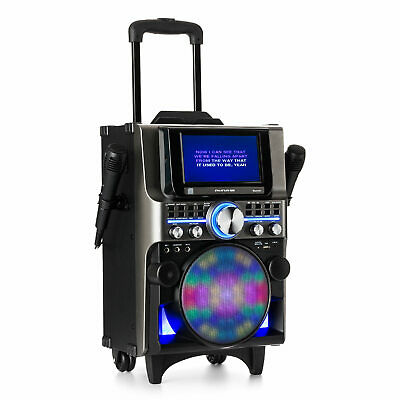 Karaoke Anlage Maschine Set CD Player TFT Display Bluetooth USB Box LED Trolley
