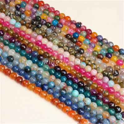 Charm Facted Cracked Crystal Glass Loose Gemstone Bead Jewelry Making 4mm-12mm