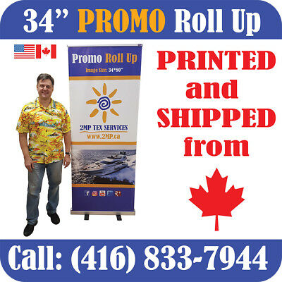 "Trade Show 34"" Retractable Roll Up Banner Stand Pop Up Display + CANVAS PRINT"