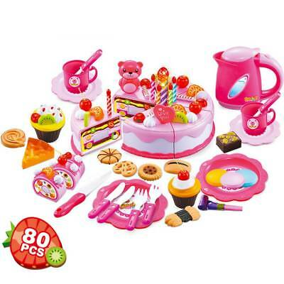 80pcs Kids Toy Pretend Role Play Kitchen Cake Food Cutting Set Gift For Children