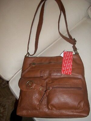 Bnwt American Eagle Brown Faux Leather Shoulder Bag Zip Many Pockets Ret   29.99 9cbe98ea557ba