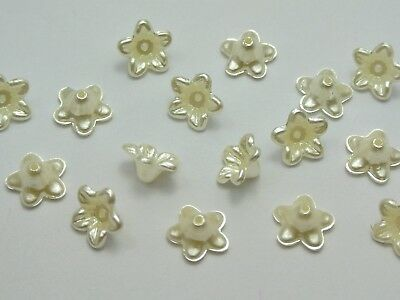200 Ivory Acrylic Pearl Bead Cap Bell Flower Beads 10mm Sewing Bow Center