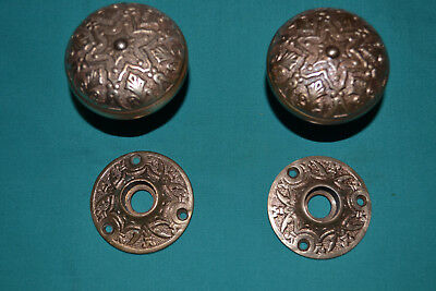 Antique Vintage Set Of Brass Door Knobs And Matching Brass Rosettes
