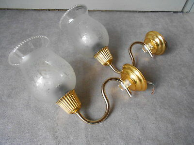 Pair of vintage french gilted Wall LIGHT SCONCES / shades w/ motifs