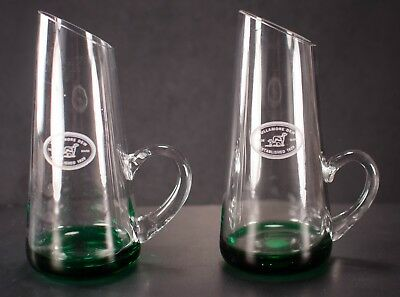 Tullamore Dew Green Clear Glass Pitchers Lot of 2