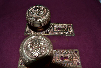 Antique Vintage Aesthetic Set Of Solid Brass Door Knobs Face Plates
