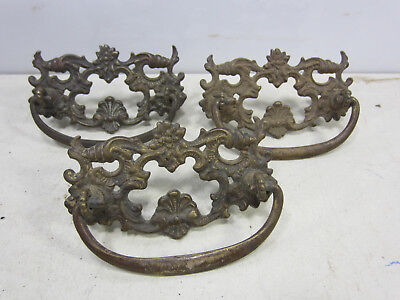 3 Antique Large Heavy Brass Victorian Style Drawer Pulls  #531