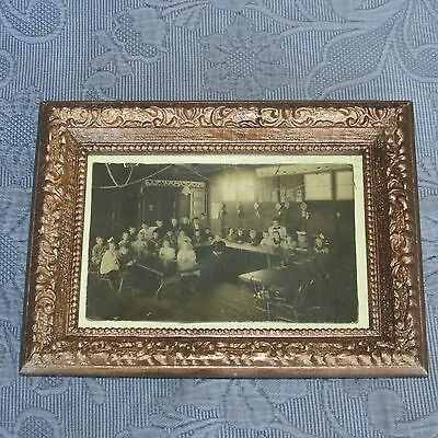 Antique Victorian Gold Picture Frame & Photo of an Early School House Interior