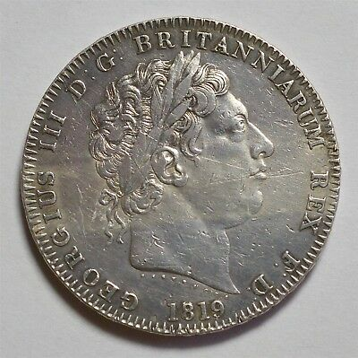 1819 Crown  9 Over 8 Rare  George  Iii  #290-2