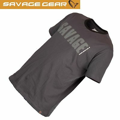 Savage Gear Simply Savage Tee Grey - Angel T-Shirt, Shirt für Angler, Angelshirt