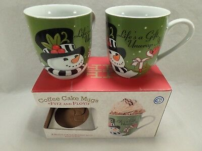 Fitz & Floyd Coffee Cake Mugs Frostys Frolic Holiday Christmas Cups Lifes a Gift