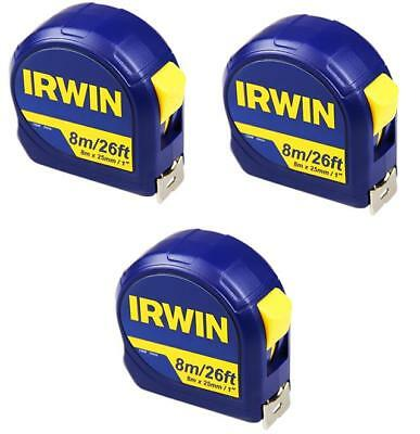 IRWIN 13948 Pocket Tape Measure 8m/26ft 8 Metre 26 Foot (Width 25mm) *PACK OF 3*