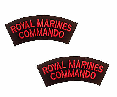 2 NEW Royal Marines Commando Red and Black Shoulders Flashes / Titles