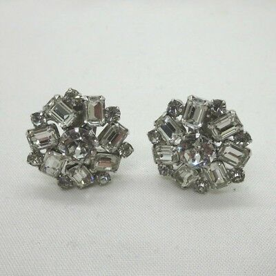Pair of Vintage Weiss Round & Baguette Clear Rhinestone Clip On Cluster Earrings