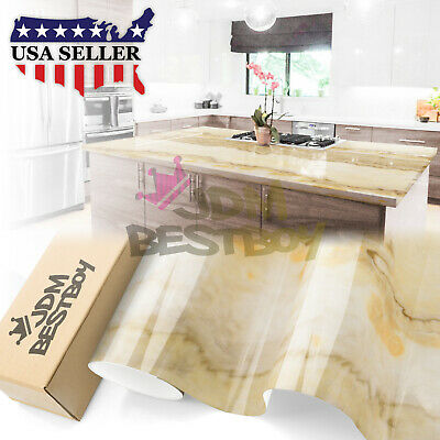 """4""""x8"""" Sample Gloss Marble Granite Look Vinyl Wrap Contact Paper Home Kitchen D28"""