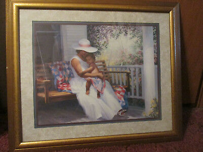 HOME INTERIORS Lady In Swing With Baby Frame Print Picture By Laurie Snow Hein