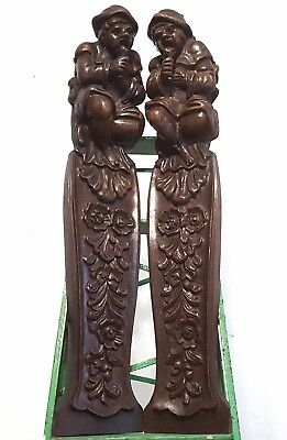 Carved Wood Corbels Brackets Matched Pair Huge Antique French Gothic Pillars