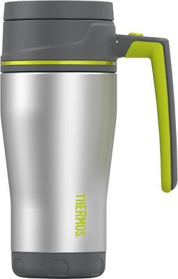 Thermos 16 oz. Stainless Steel Double Wall Travel Mug - Charcoal/Lime