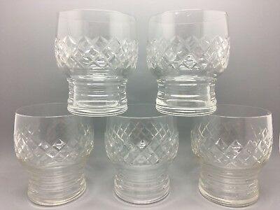 Set of 5 handsome heavyweight barrel shaped vintage tumblers with hooped base