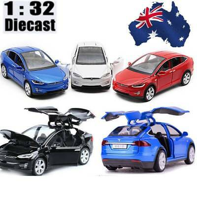 Light Metal 1/32 Tesla Model X 90D Sound Diecast Model Car Pull Back Vehicle Toy