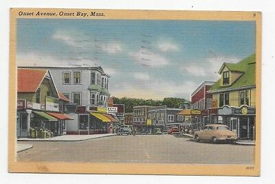ONSET BAY MASSACHUSETTS Onset Avenue Early View Linen Post Card #2333