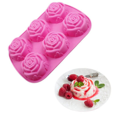 Silicone 6 Rose Flower Cake Mold Soap Mold Candy Chocolate Baking Mould Tool Hot