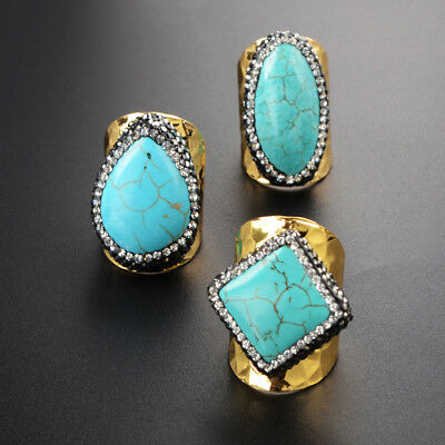 1Pcs CZ Paved Mixed Shape Blue Howlite Turquoise Gold Plated Band Ring HJA471