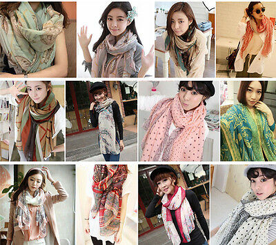 Women Girl Fashion Long Soft Wrap Lady Shawl Cotton Chiffon Scarf Scarves