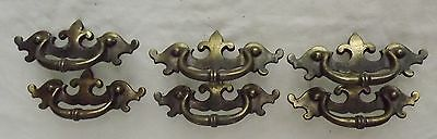 "Vtg 6 KEELER Brass DRAWER PULLS~Matching Set w/Screws~3"" centers HANDLES"