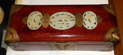 Chinese White Jade Red Wood Jewelry Trunk Box With Lock And Key