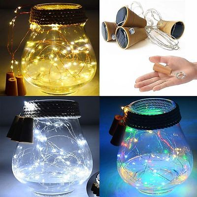 1M 10 LED Solar Weinflasche Cork Shaped String Fairy Light Nachtlampe
