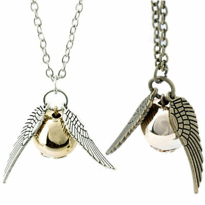 For Harry Potter Deathly Snitch Necklace Pendant Antique Brass Chain Jewelry