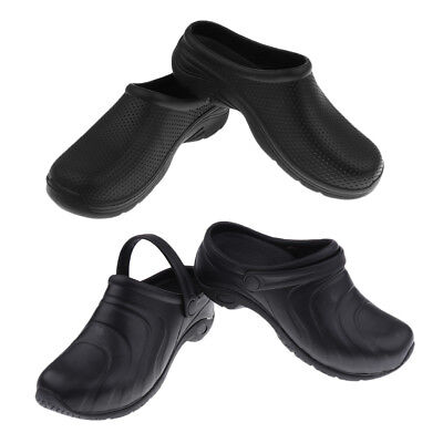 Mens Womens Garden Kitchen Hospital Work Clogs Shoes EVA Slip On Mules Black