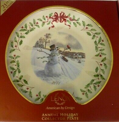 LENOX annual HOLIDAY PLATE for 2011 NEW in BOX 1st QUALITY Snowman made in USA