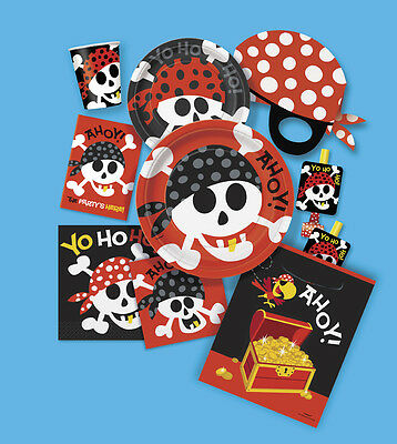 PIRATE FUN Birthday PARTY (Skull & Crossbones) Tableware & Decorations (1C)