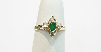 14K Yellow Gold Emerald And Diamond  Ring Size 6 , 320-H