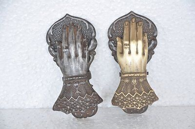 2 Pc Old Iron & Brass Handcrafted Embossed Victorian Handshape Letter Clips