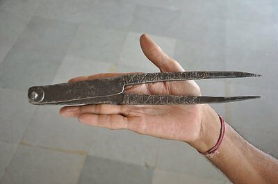 1930's Old Iron Engraved Handforged Long  Solid Betel Nut Cutter , Rich Patina
